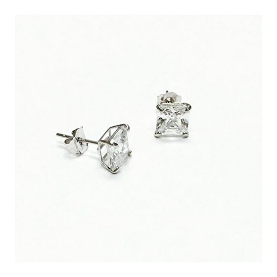 14K White Gold Princess Cut Stud Earrings 2 3 4 5 6 7 8 9 10 (9 Millimeters) 2