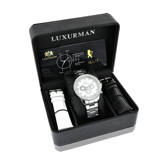 Luxurman Mens Real Diamond Watch 0.2ct White Gold Plated White MOP Liberty 4