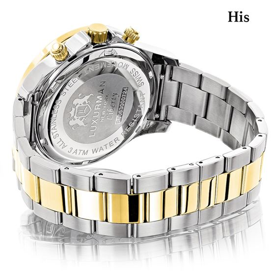 MATCHING WATCHES FOR COUPLES LUXURMAN YELLOW GOLD PLATED DIAMOND WATCH SET 2