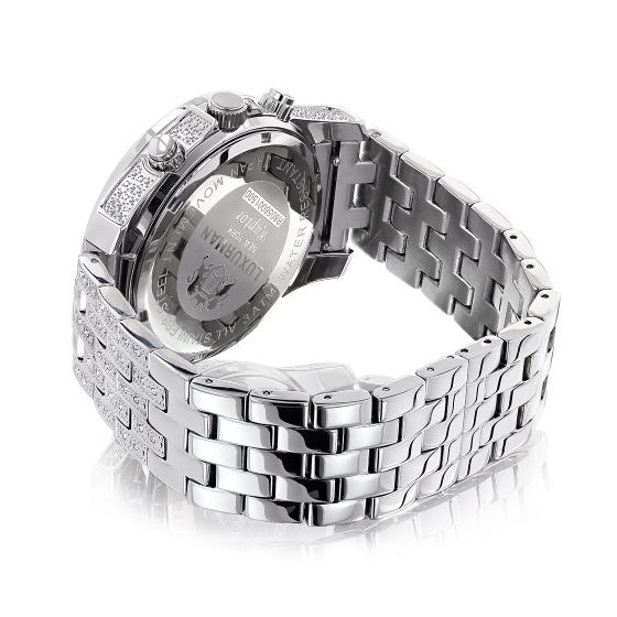 Iced Out Watches: Luxurman Mens Genuine Diamond Watch 1.25ct Heavy band 2