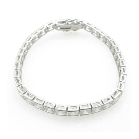 Ladies .925 Italian Sterling Silver princess cut cz tennis bracelet Length - 7 inches Width - 6mm 2