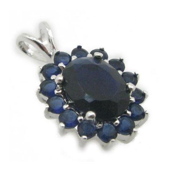 Ladies .925 Italian Sterling Silver fancy pendant with dark blue stone Length - 20mm Width - 13mm 2