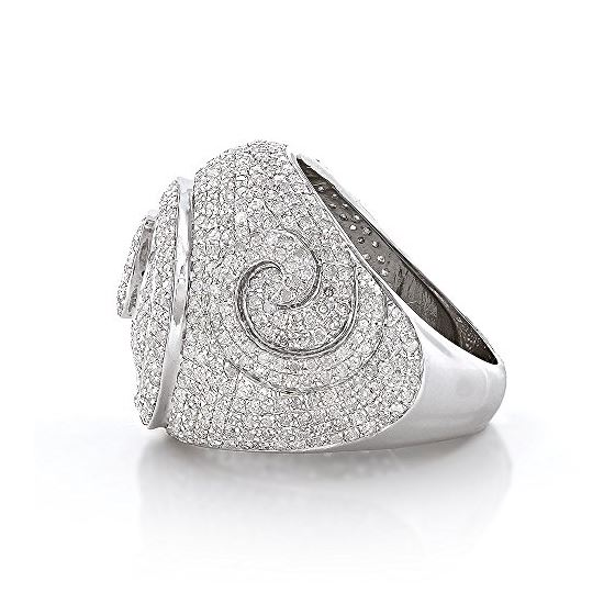 Sterling Silver Mens Diamond Ring 3Ctw (Sterling-2