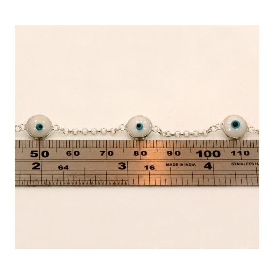 """""""Evil Eye Murano Glass Bead Designer Sterling Silver Bracelet SD10"""