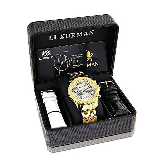 LUXURMAN White Black World Map Mens Diamond Watc-4