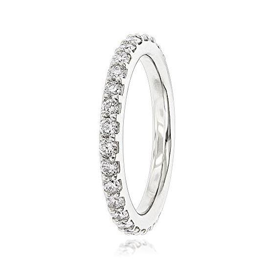 Slim Diamond Platinum Wedding Band For Women Stackable (1 Cttw, F-G Color,  VVS2-VS1 Clarity)