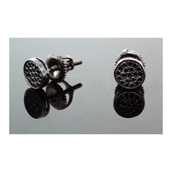 .925 Sterling Silver Black Circle Black Onyx Crystal Micro Pave Unisex Mens Stud Earrings 6mm 2