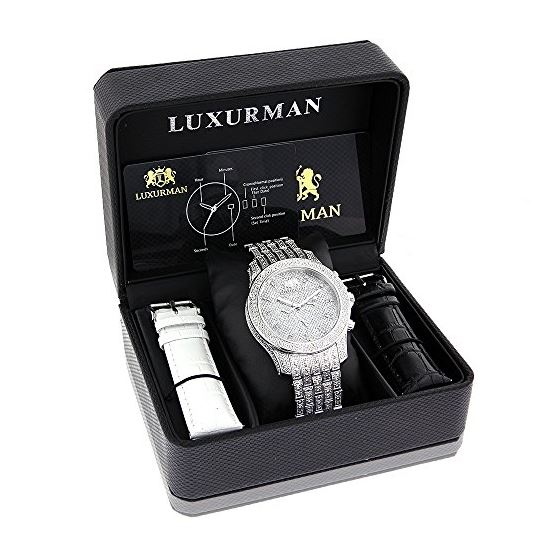 Iced Out Watches: Luxurman Mens Genuine Diamond Watch 1.25ct Heavy band 4