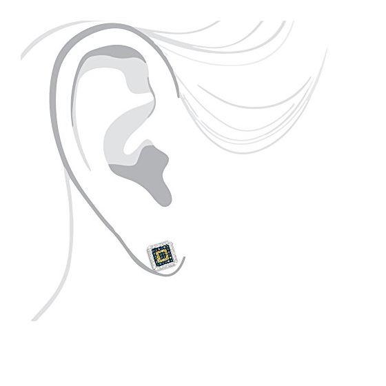 """Square Diamond Earrings Studs Yellow Blue Diamonds (0.3 Ctw"