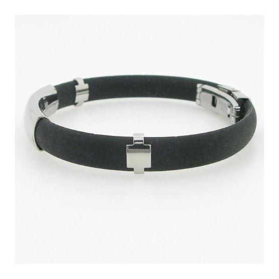 """Stainless Steel and Rubber Greek Key Bracelet 8"""" 2"""