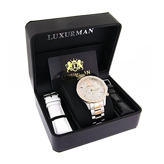 Luxurman Mens Real Diamond Watch Two-Ton 90403 4