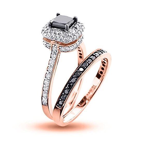 10K White Black 1.2 Ctw Diamonds Unique Bridal E-2