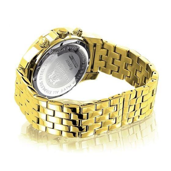 Yellow Gold Tone Watches: Luxurman Mens Genuine Diamond Watch 0.25ct Chronograph 2