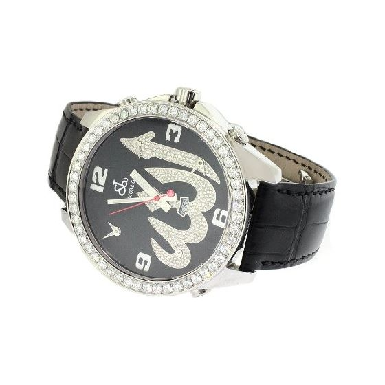 Jacob Co. Black Leather Band Fivetime Zone 4.5Ct-2