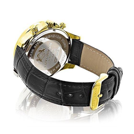 Mens Diamond Watch 0.2Ctw Black MOP Liberty 18K-2