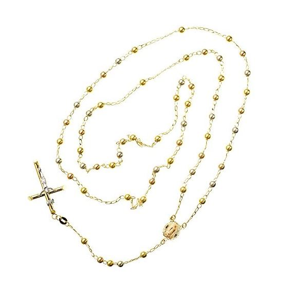 10K 2TONE Gold HOLLOW ROSARY Chain - 30 Inches Long 4.02MM Wide 2
