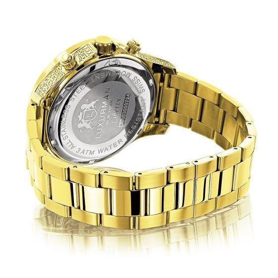 Luxurman Liberty Mens Real Diamond Watch 0.5ct Yellow Gold Plated Swiss Movement 2