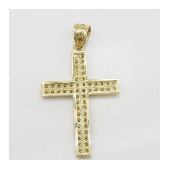 Mens 10k Yellow gold 2 row cz stone cross pendant GCHA10 4