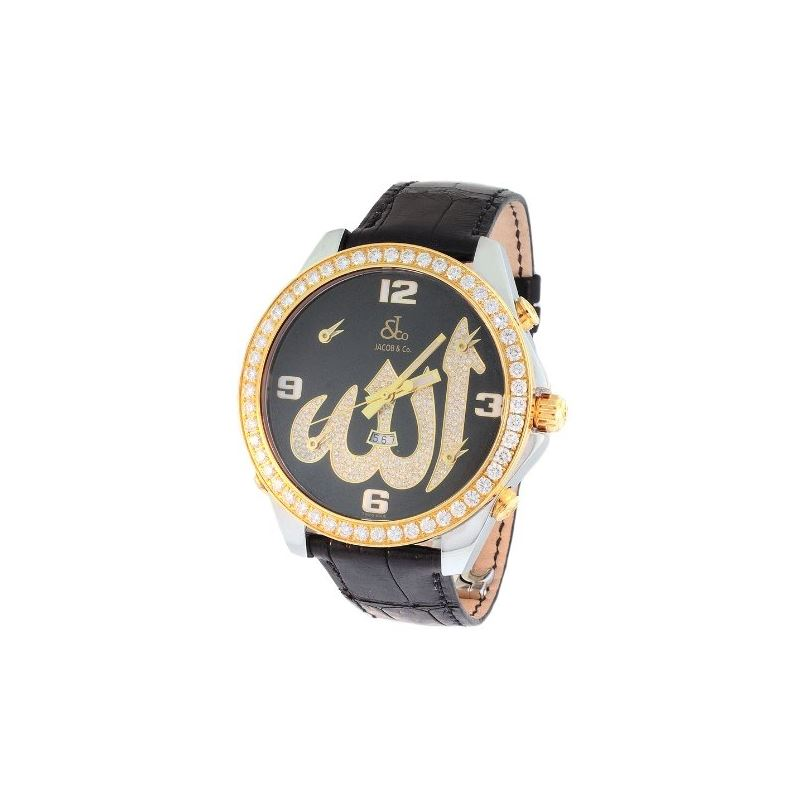 Jacob Co. 18K Yellow Gold Black Band 5Time Zone 4.