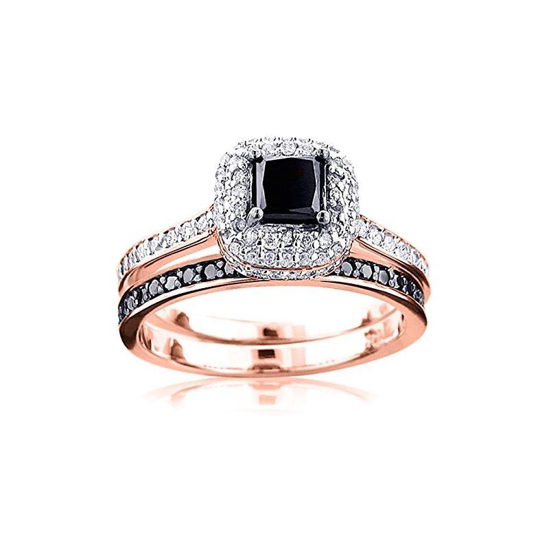 10K White Black 1.2 Ctw Diamonds Unique Bridal Eng