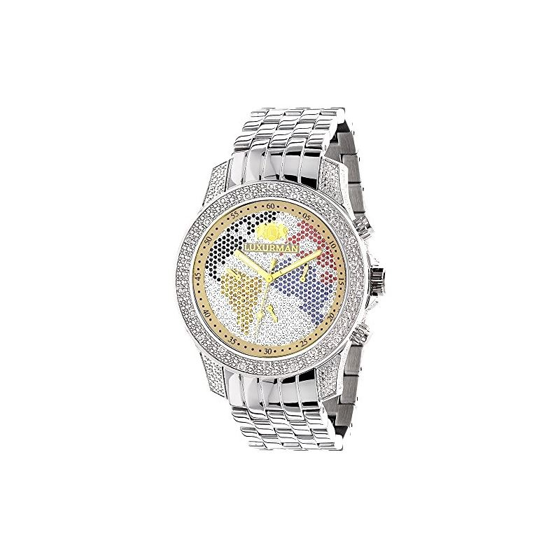 World Map Mens Diamond Watch 0.50Ct Limited Editio