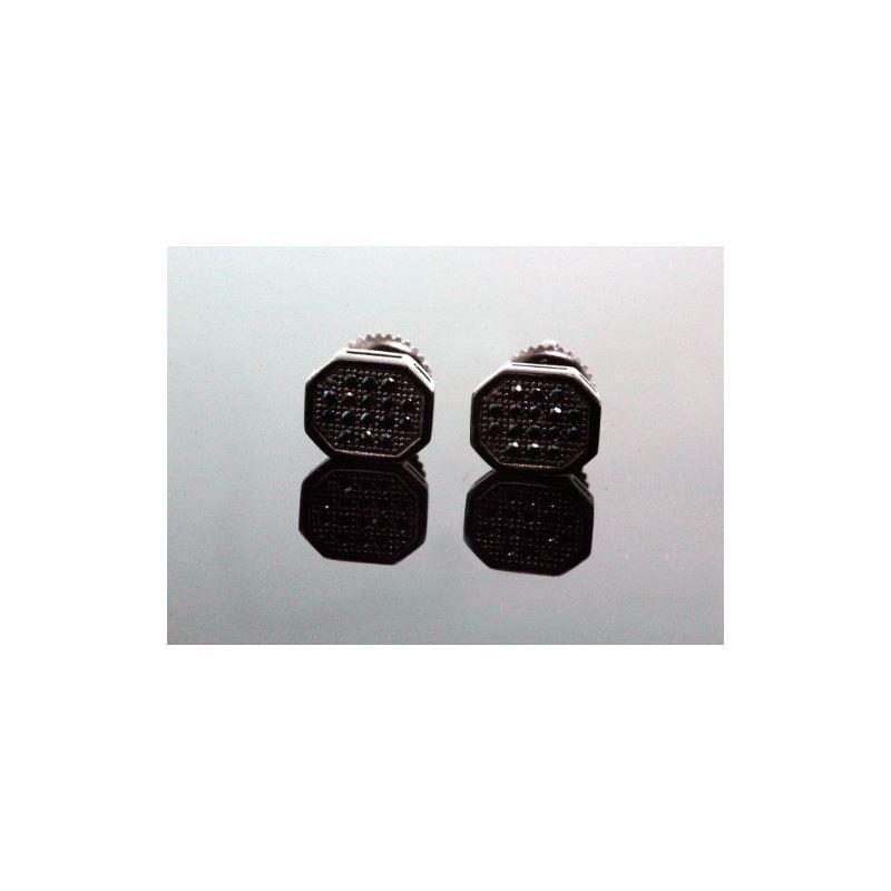 .925 Sterling Silver Black Octagon Black 58388 1