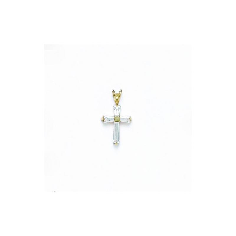 14K Gold Cross Pendant CZ P47 63499 1