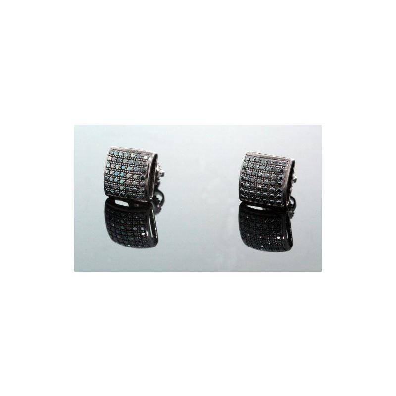 .925 Sterling Silver Black Square Black  58450 1