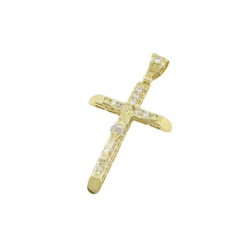 Mens 10k Yellow Gold Jesus cross with st 77669 1