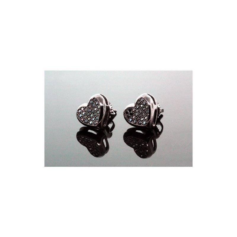 .925 Sterling Silver Black Heart Black O 58368 1