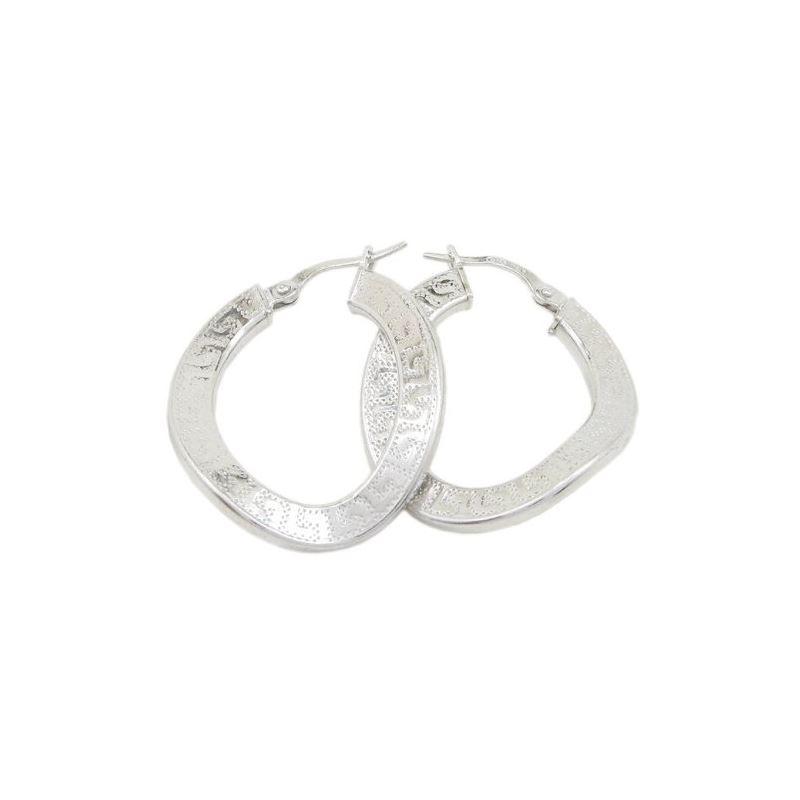 Round greek key wavy hoop earring SB92 3 79421 1