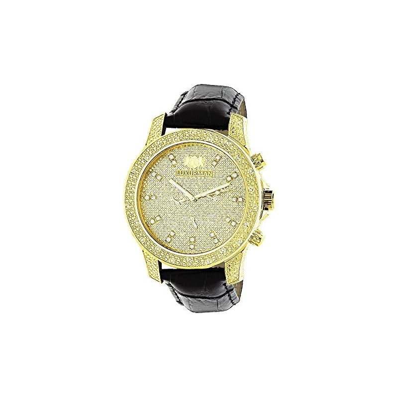 Mens Yellow Gold Plated Watch With Diamonds 0.5Ct