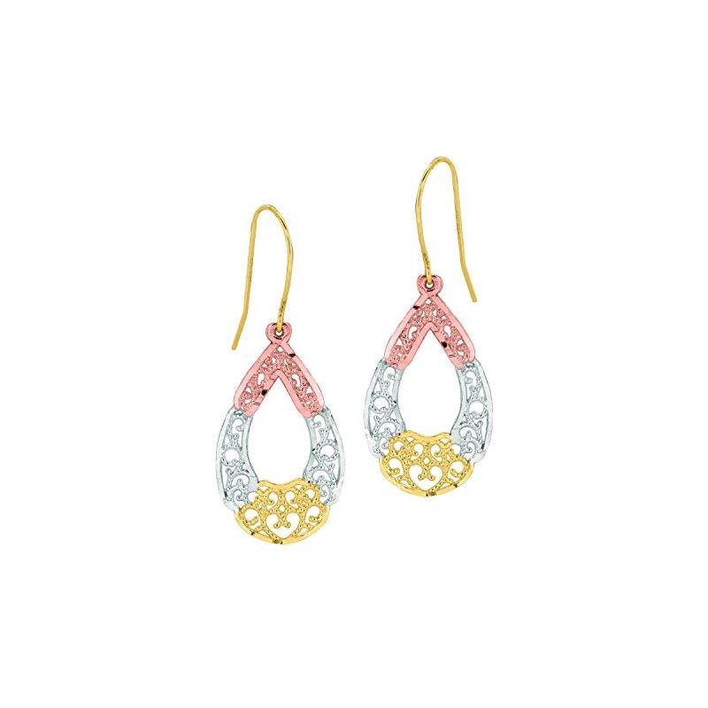 10K Tri-Color Gold Ladies Drop Earrings  59718 1