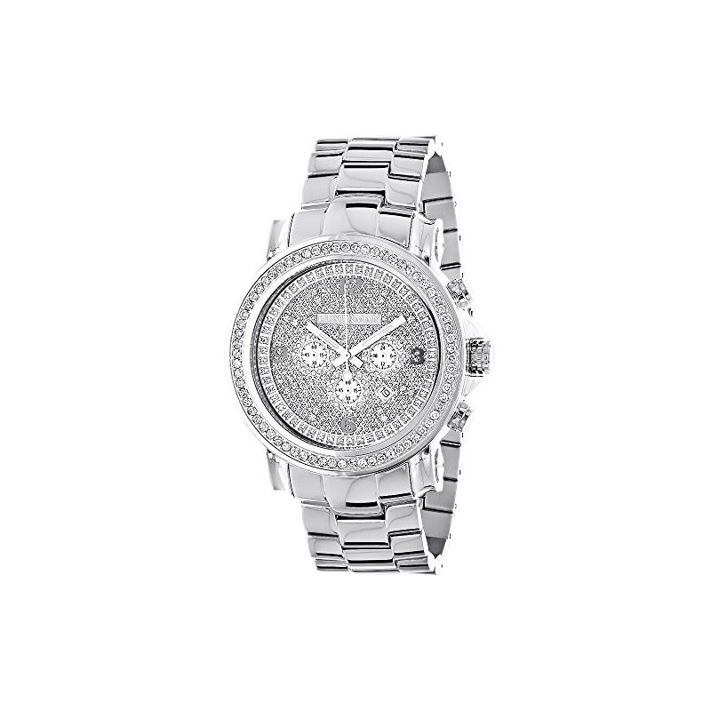Large Iced Out Mens Chronograph Real Diamond Bezel