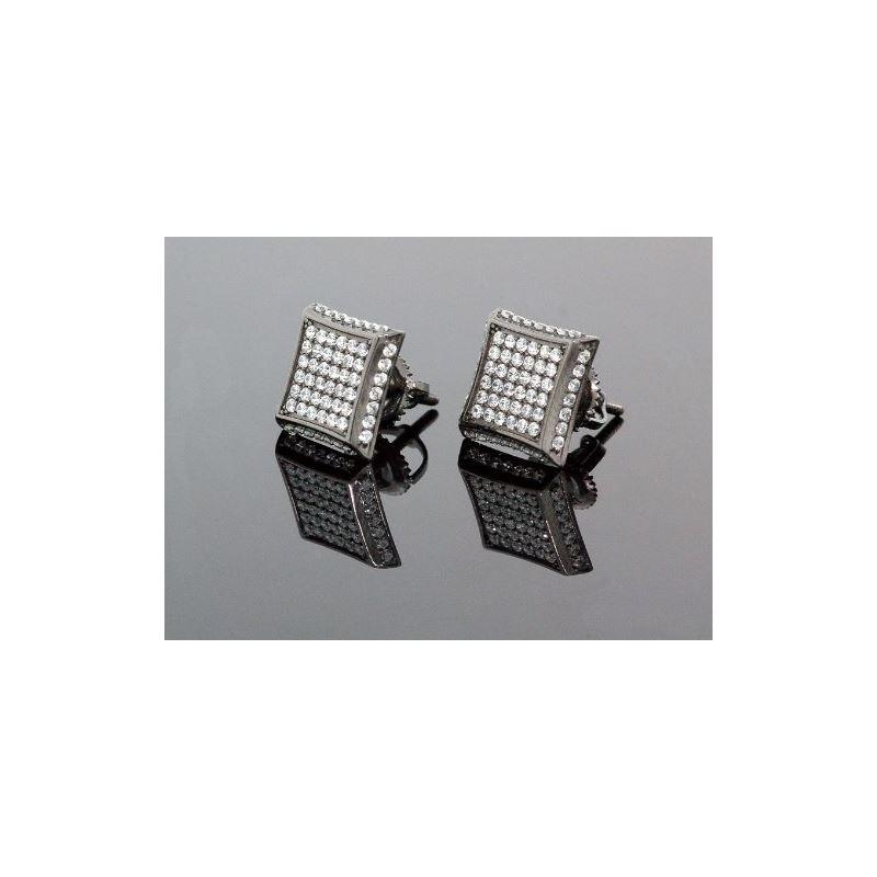 .925 Sterling Silver Black Square White  58480 1