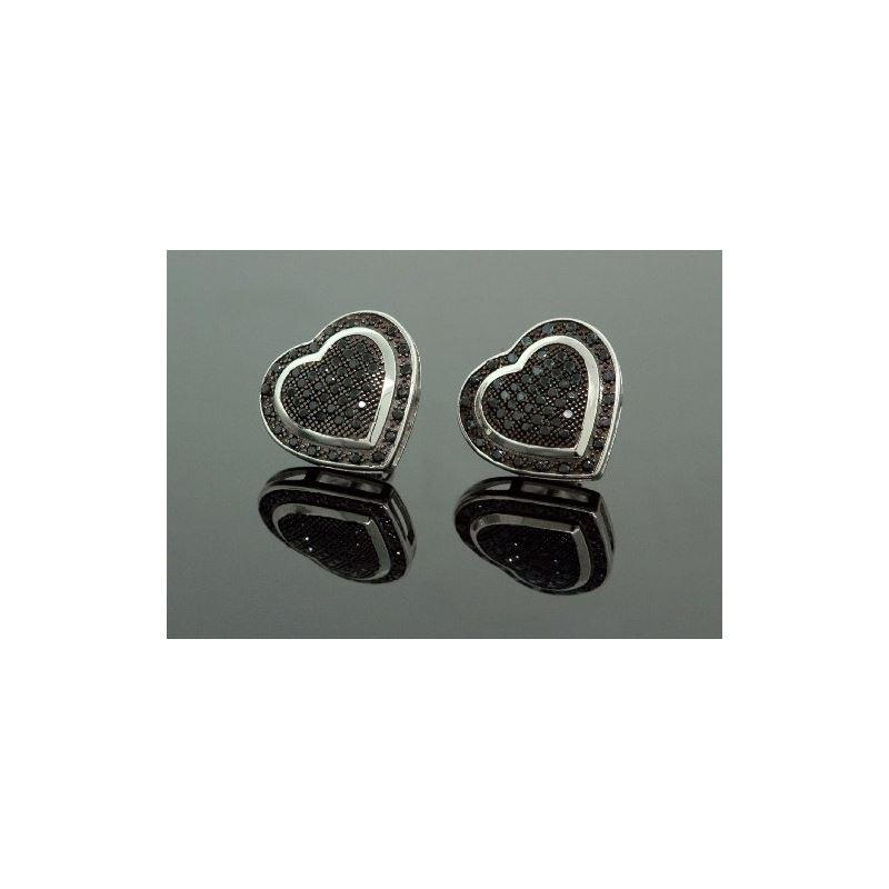 .925 Sterling Silver Black Heart Black O 58365 1