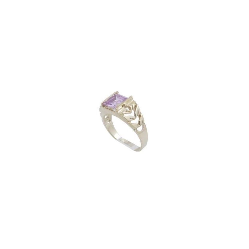 10k Yellow Gold Syntetic pink gemstone r 62281 1