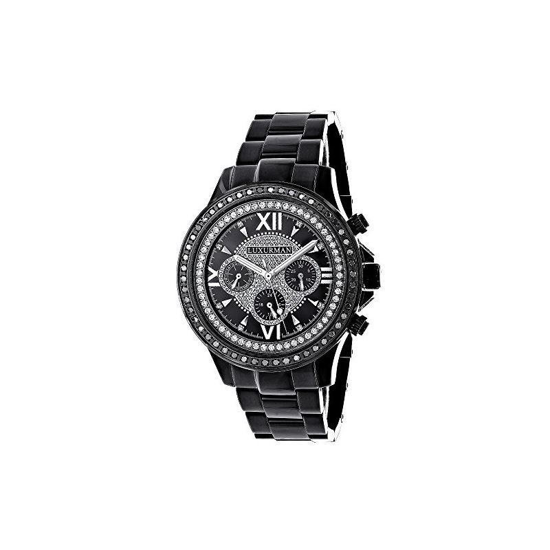 Mens Diamond Black Diamond Watch 2Ctw Of Diamonds