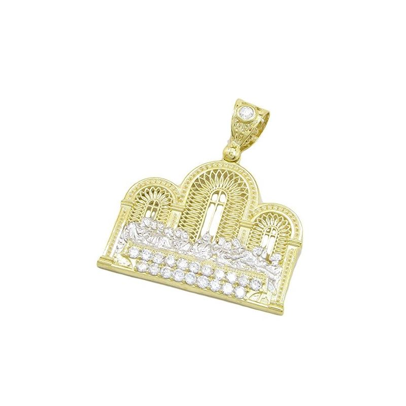 Mens 10k Yellow Gold Last supper with st 77746 1