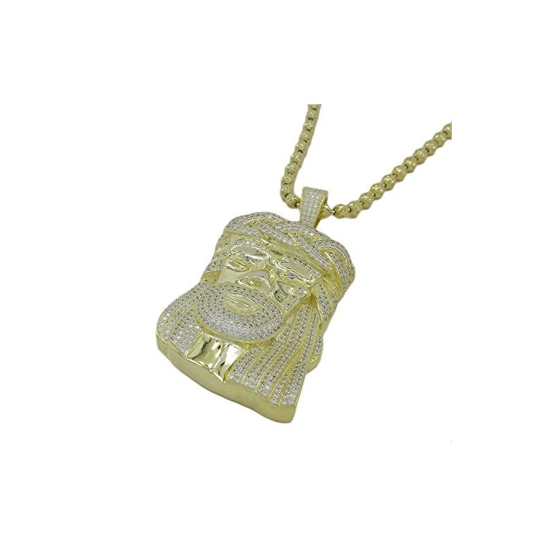 Silver Jesus Necklace Pendant with 30 In 79762 1