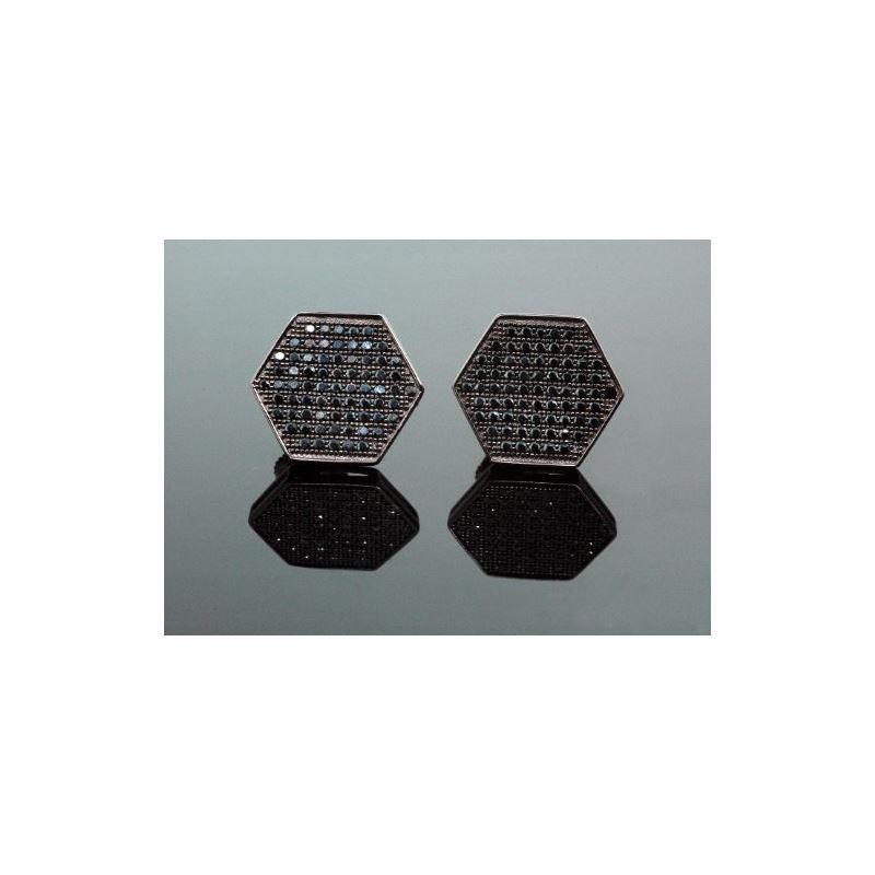 .925 Sterling Silver Black Hexagon Black 58374 1