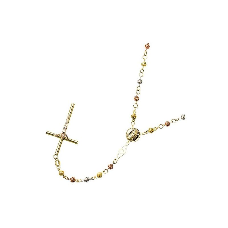 10K 3 TONE Gold HOLLOW ROSARY Chain - 28 59540 1