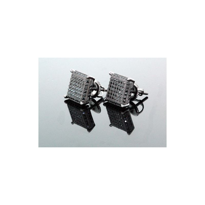 .925 Sterling Silver Black Square Black  58403 1