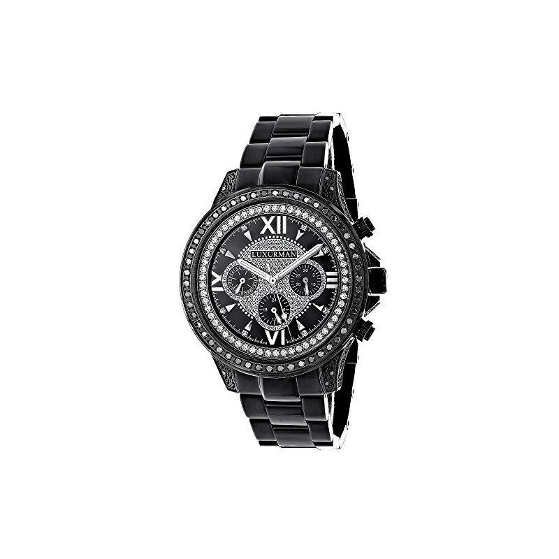Black Diamond Watches: LUXURMAN Mens Diamond Watch