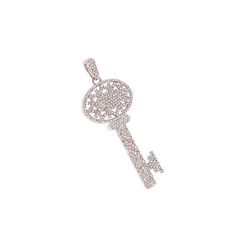 Ladies 14K Natural 1 Ctw Diamond Key Necklace (Ros
