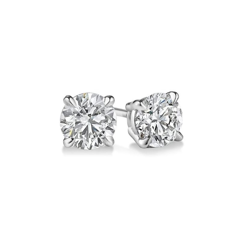 Gold Round Cut Diamond Stud Earrings 0.9 73391 1