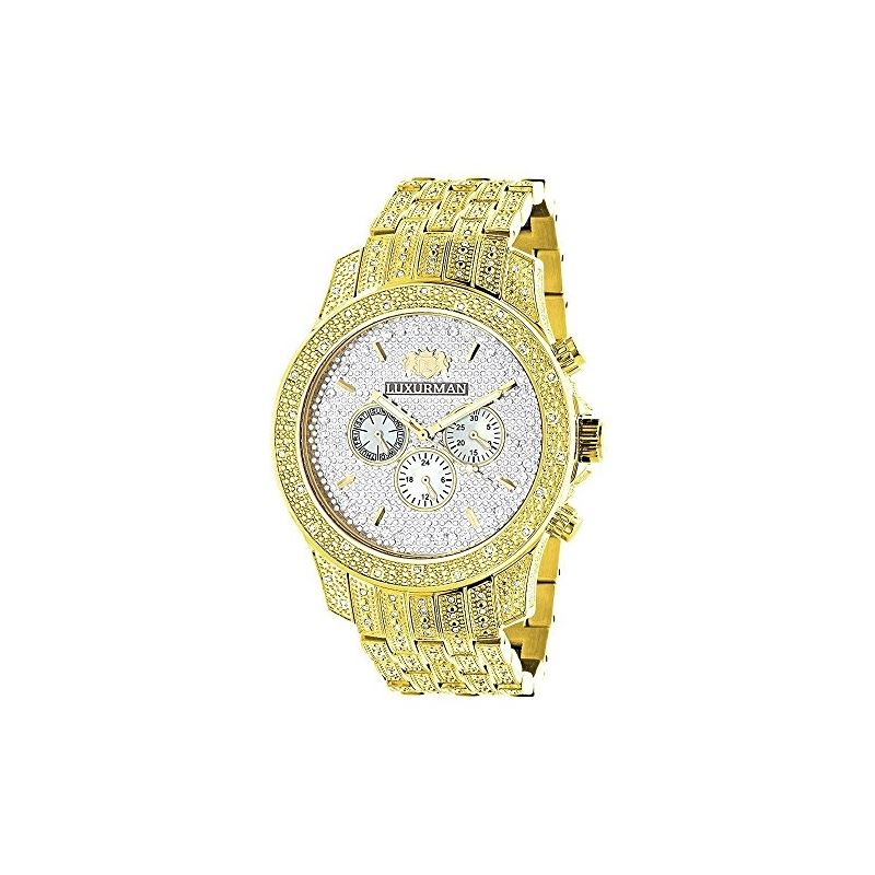 Iced Out LUXURMAN Mens Diamond Watch 1.25Ct Yellow