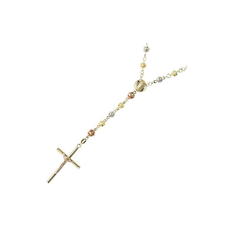 10K 3 TONE Gold HOLLOW ROSARY Chain - 30 59555 1