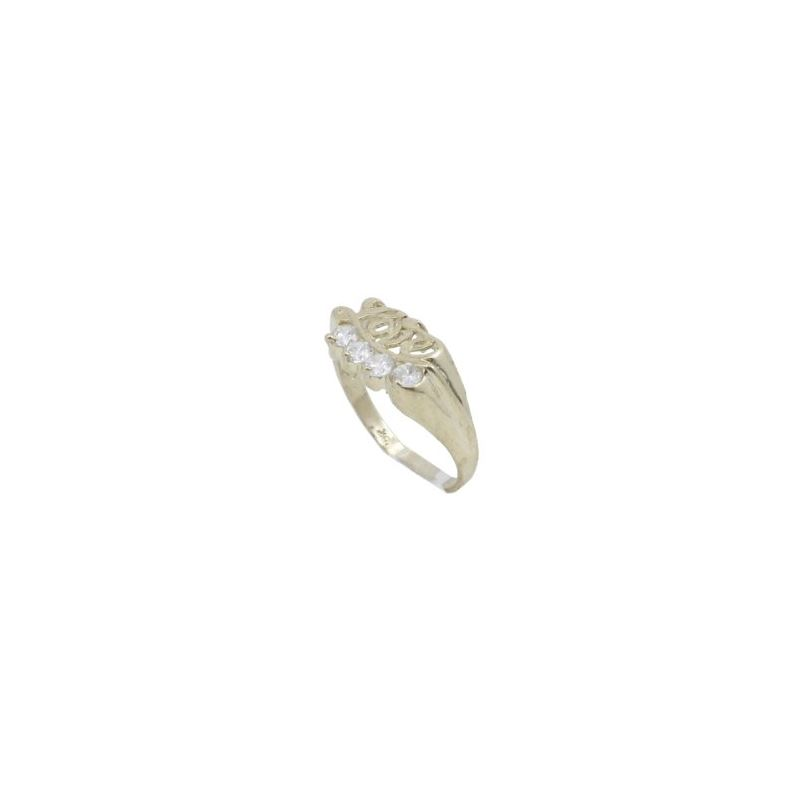 10k Yellow Gold Syntetic white love gems 62904 1