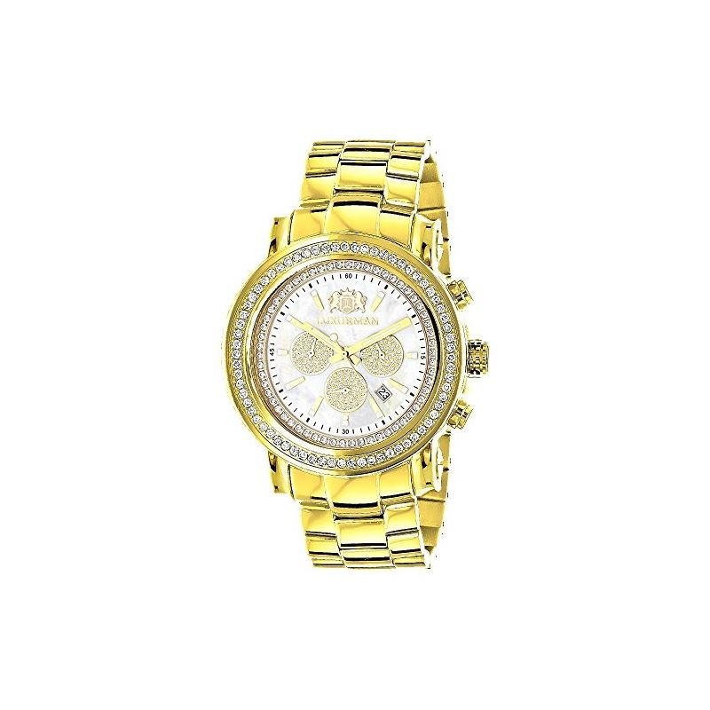 Large Diamond Bezel Watch For Men Yellow Gold Plat